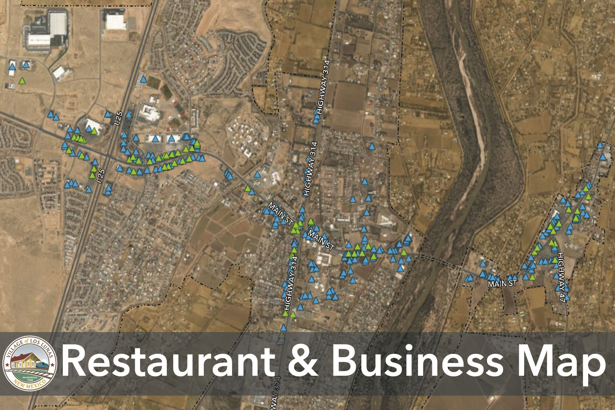 Village of Los Lunas Restaurant and Business Map