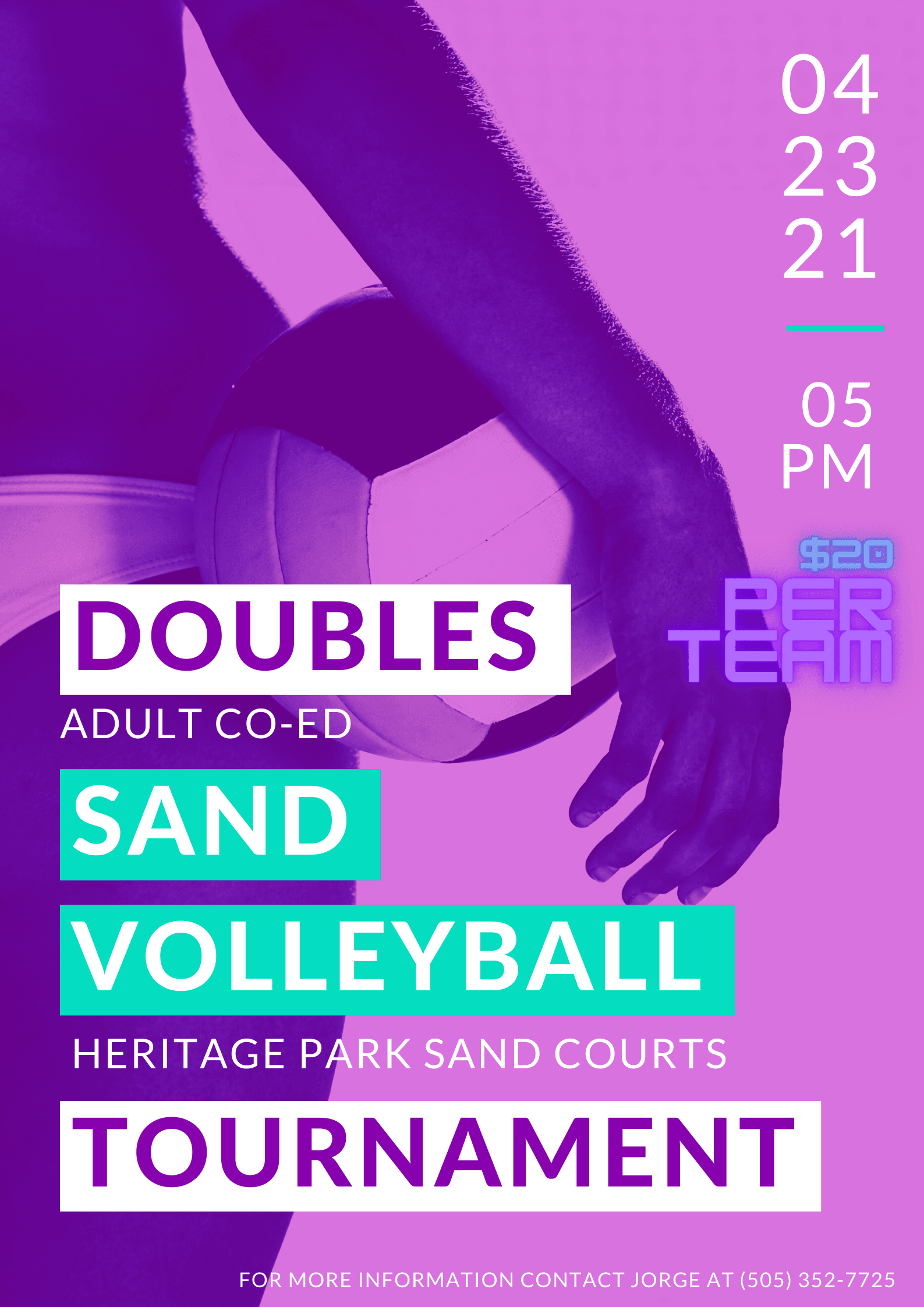 Adult Co Ed Sand Doubles Flyer