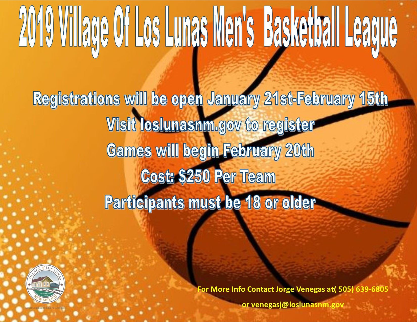 2019 Mens Basketball League Flyer